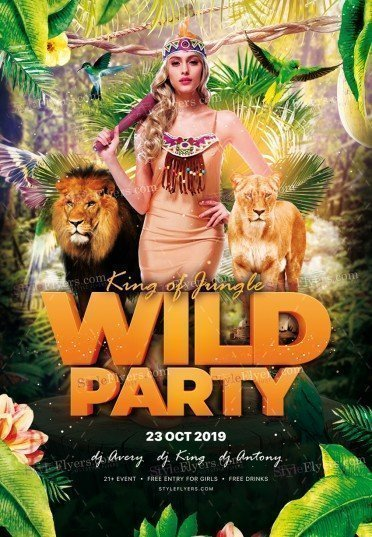king-of-jungle-wild-party_psd_flyer