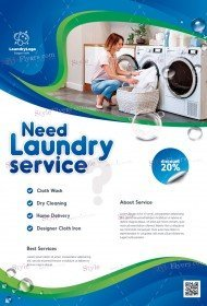 laundry-service_psd_flyer