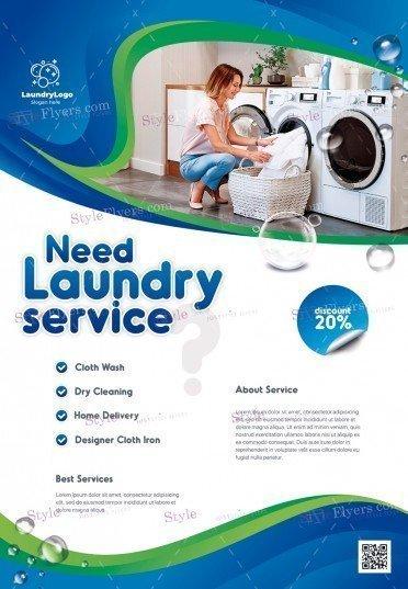 laundry-service_psd_flyer