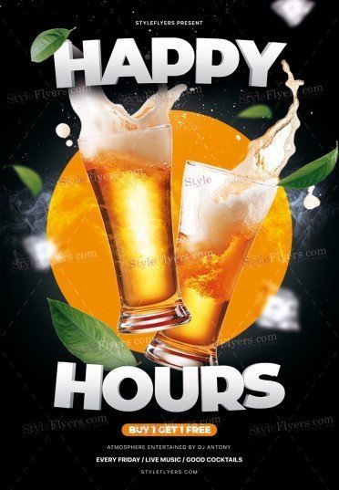 Happy Hours PSD Flyer Template