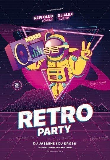 Retro Night PSD Flyer Template