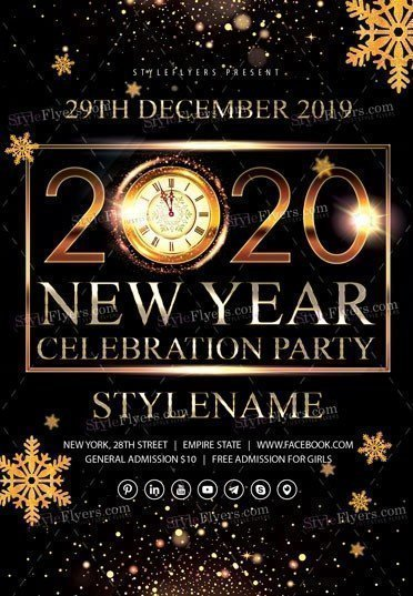 2020 New Year Celebration Party PSD Flyer Template