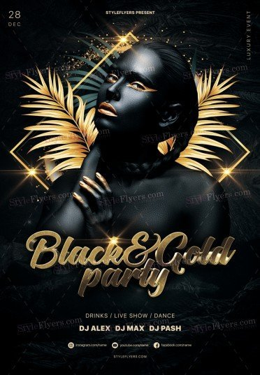 Black&Gold Party PSD Flyer Template
