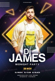 DJ Flyer Midnight Party PSD Flyer Template