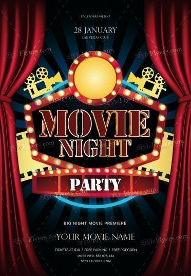 Movie Night Party Psd Flyer Template
