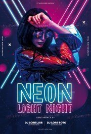 Neon Light Night PSD Flyer Template
