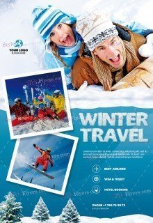 Winter Travel PSD Flyer Template