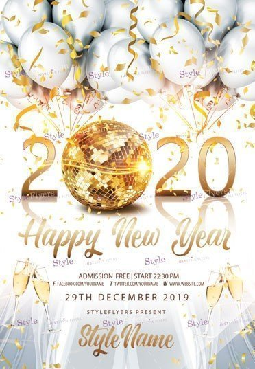 2020 Happy New Year PSD Flyer Template