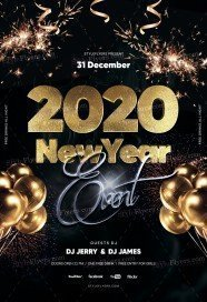 2020 New Year Eve PSD Flyer Template