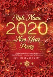 2020 New Year Party PSD Flyer Template