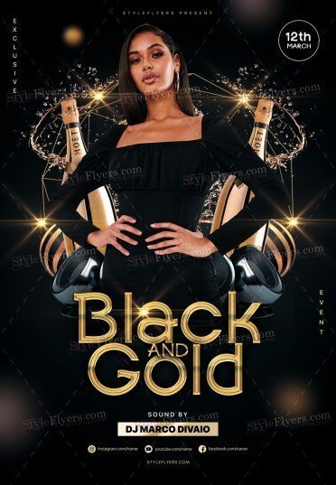 Black And Gold PSD Flyer Template