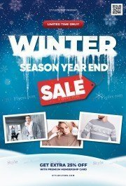 Winter Season Year End Sale PSD Flyer Template
