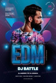 EDM Dj Battle PSD Flyer Template