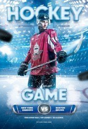 Hockey Game PSD Flyer Template