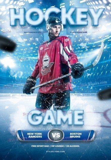 Hockey Game PSD Flyer Template