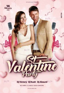 St. Valentine Party PSD Flyer Template