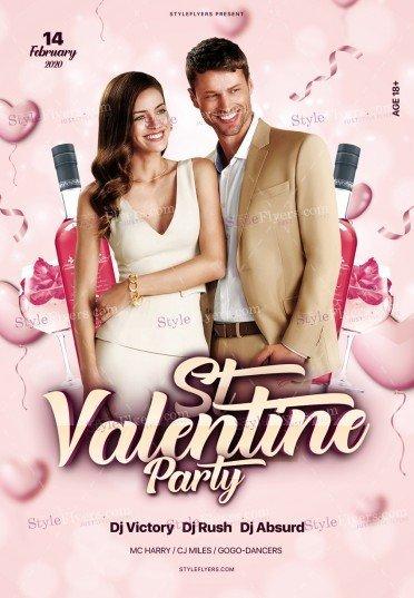 St. Valentine Party PSD Flyer Template
