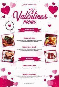 St. Valentines Menu PSD Flyer Template