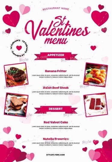 St. Valentines Menu PSD Flyer Template