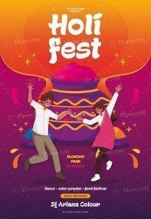 Holi Fest PSD Flyer