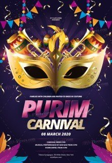 Purim Carnival PSD Flyer