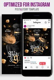 Black&Gold Party PSD Instagram Post and Story Template