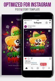 Cinco De Mayo PSD Instagram Post and Story Template