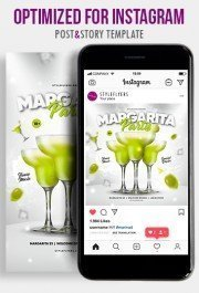Margarita Party PSD Instagram Post and Story Template