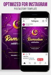 Ramadan PSD Instagram Post and Story Template
