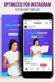 Online Webinar PSD Instagram Post and Story Template