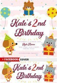 Kate's 2nd Birthday Flyer Template